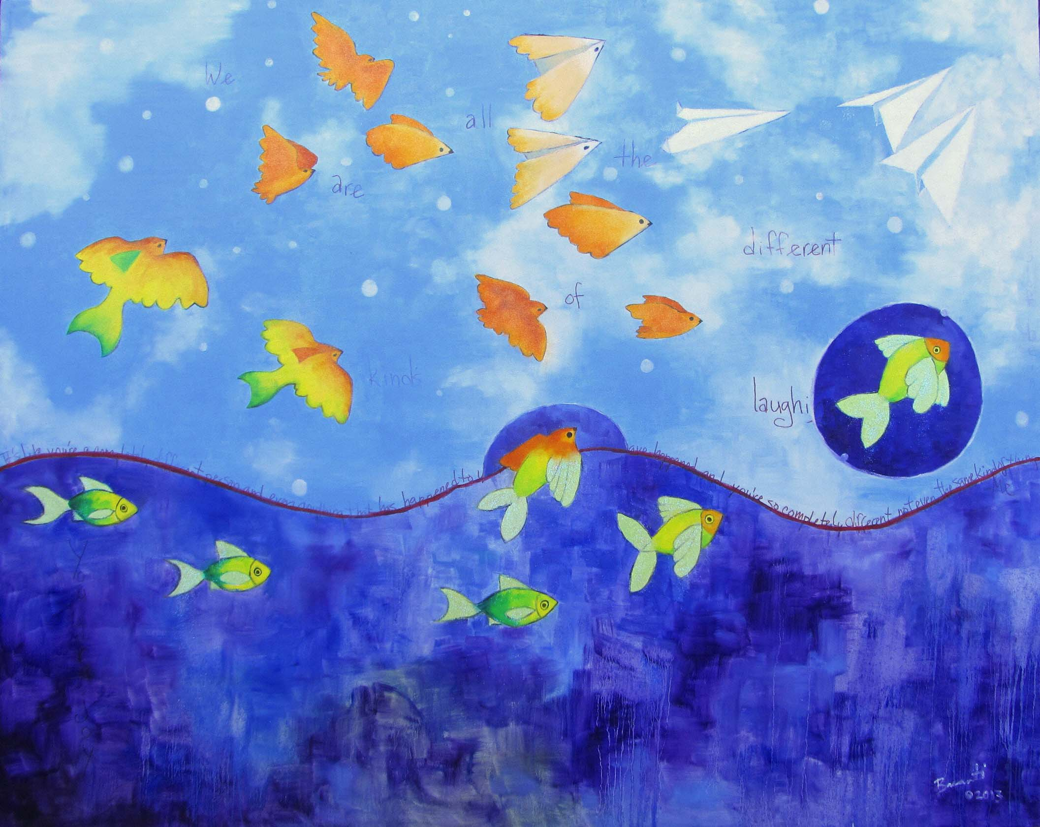 birds fish birds paper airplanes blue ocean oil painting cute whimsical