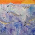 dolphin porpoise vacate oil painting blue whimsical cute