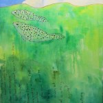 seals, harbor seals, oil painting green cute whimsical