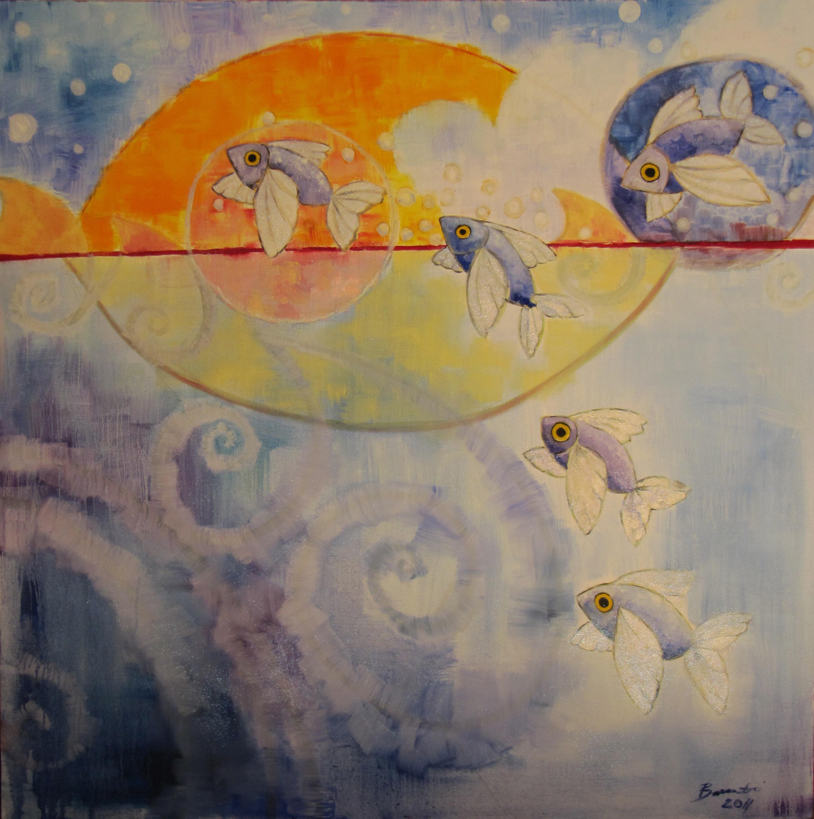 Flying Fish in the sea, whimsical, oil painting, blue