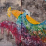 birds, oil painting, rainbow, colors, semi abstract, oil painting